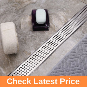 Linear Shower Drain with Quadrato Pattern Grate