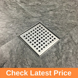 Square Shower Drain with Removable Quadrato Pattern Grate